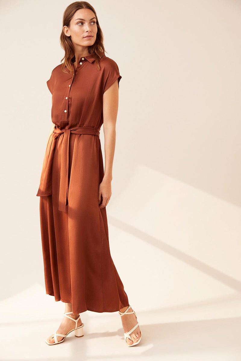 Dita Chocolate Sateen Shirtdress