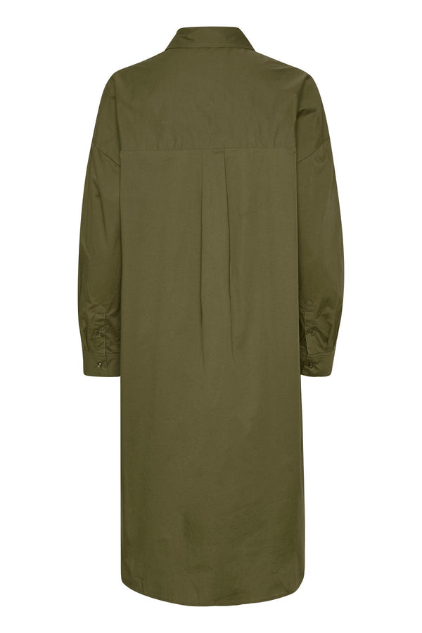 Part Two Edil organic cotton shirtdress in khaki.