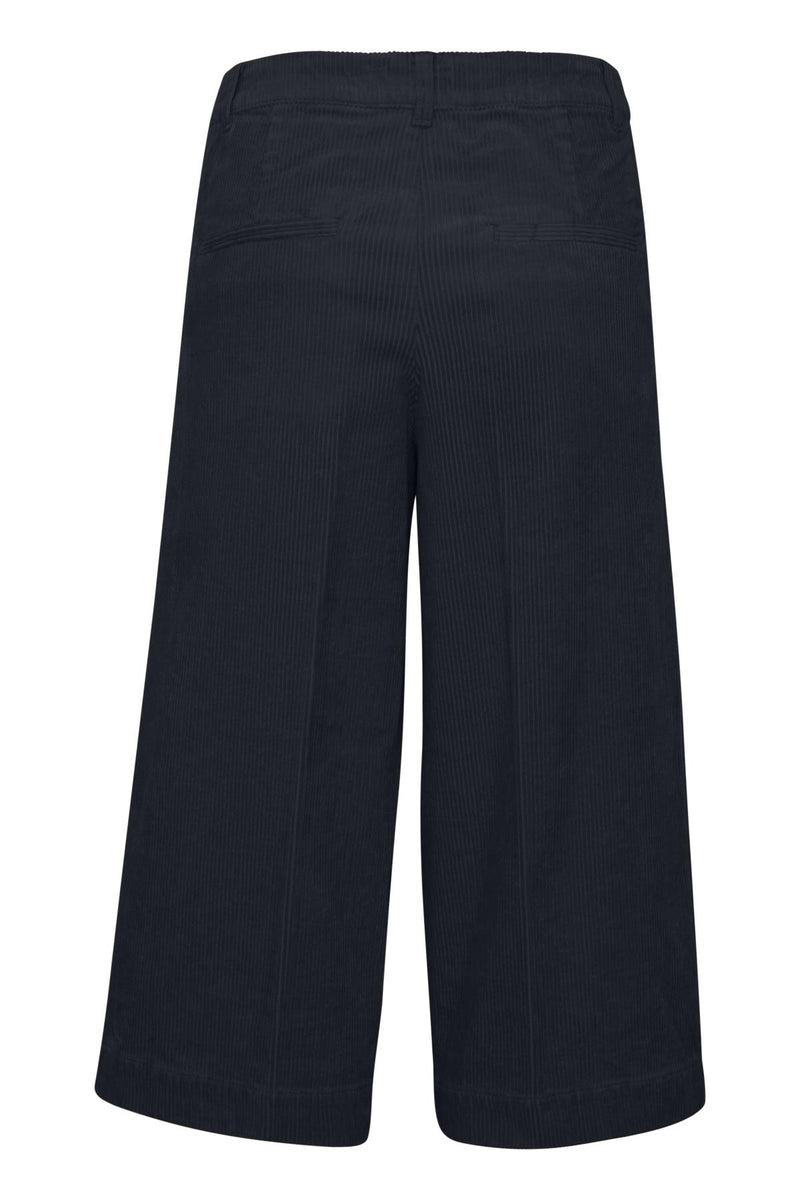 Part Two Navy Erina Wide Leg Cropped Cord Trouser