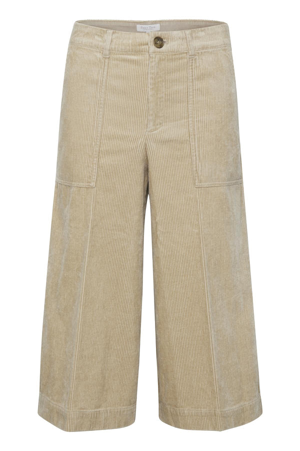 Part Two Erina Cream Cord Wide Leg Cropped Trouser