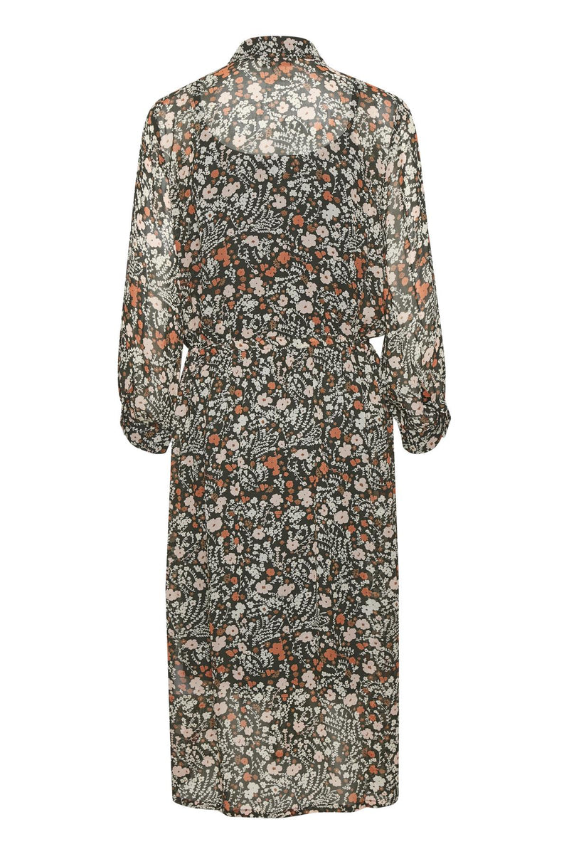 Part Two Esmine Floral Print Midi Dress in Khaki