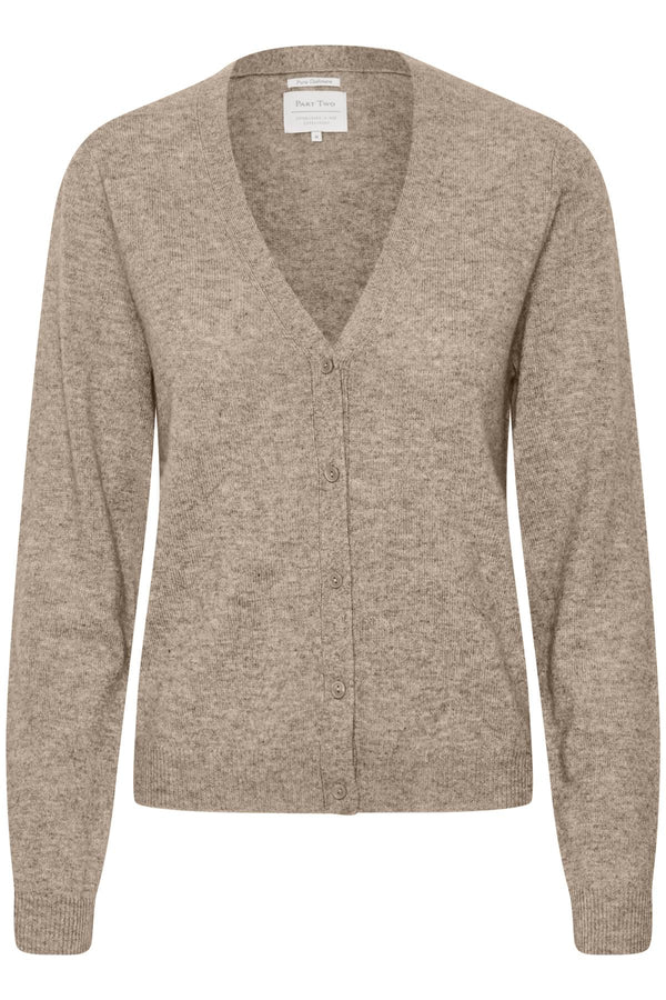 Part Two Esmi V Neck Cashmere Cardigan in Light Camel.
