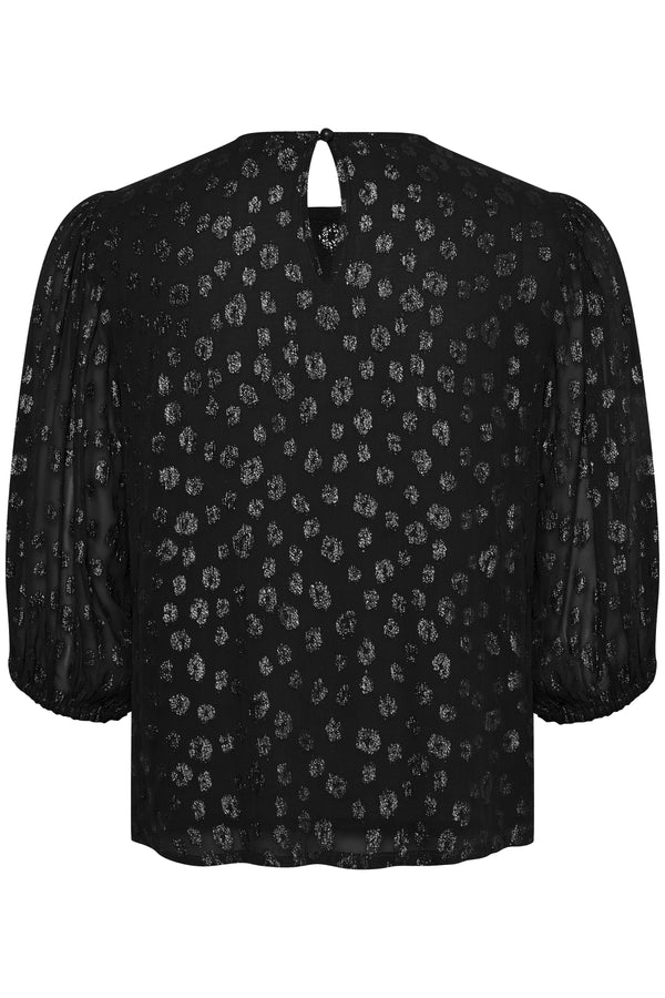 Part Two Fahrin metallic leopard motif jacquard blouse