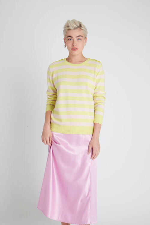 Jumper 1234 Stripe Button Neck Sweater in Citrus