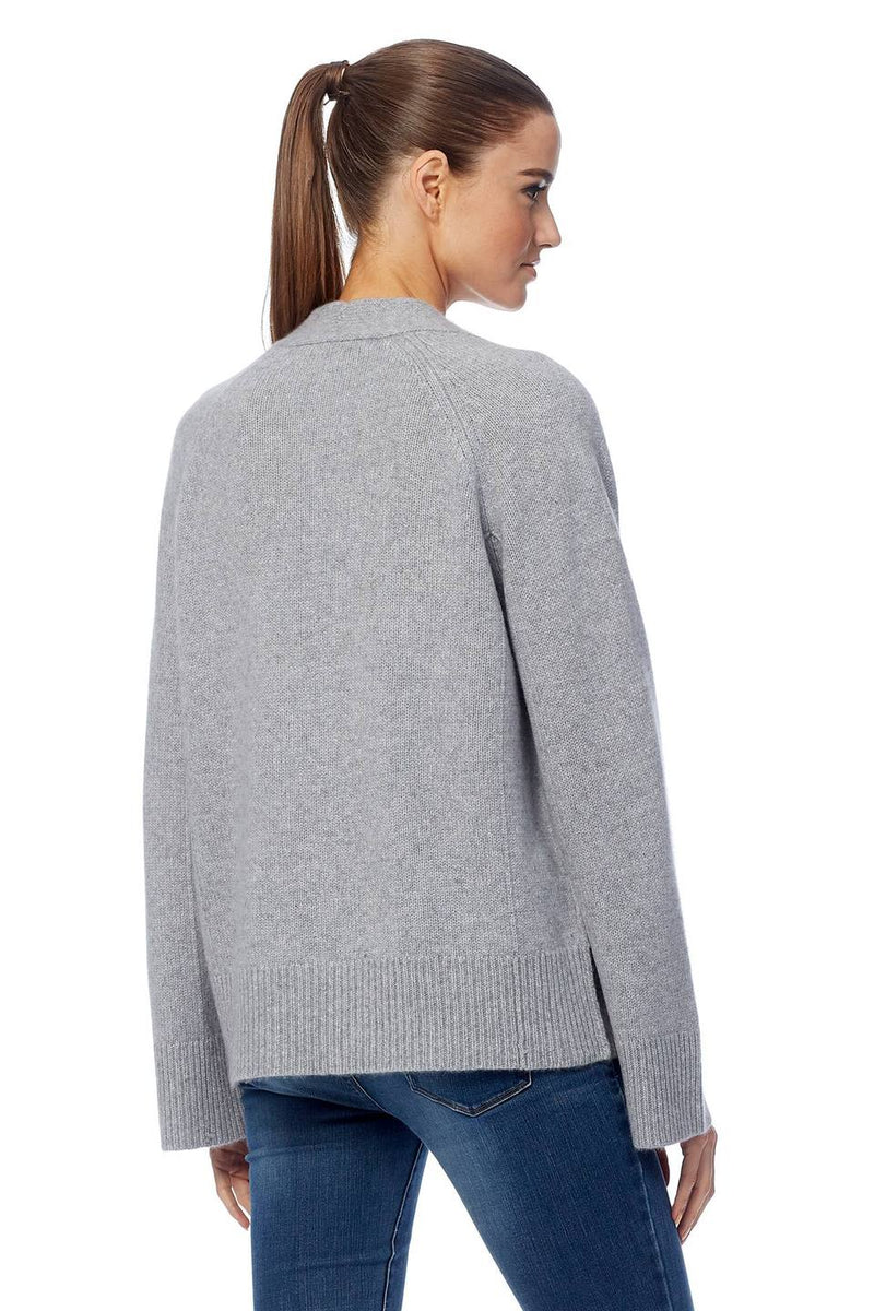 360 Cashmere Dori light grey cardigan with tie front