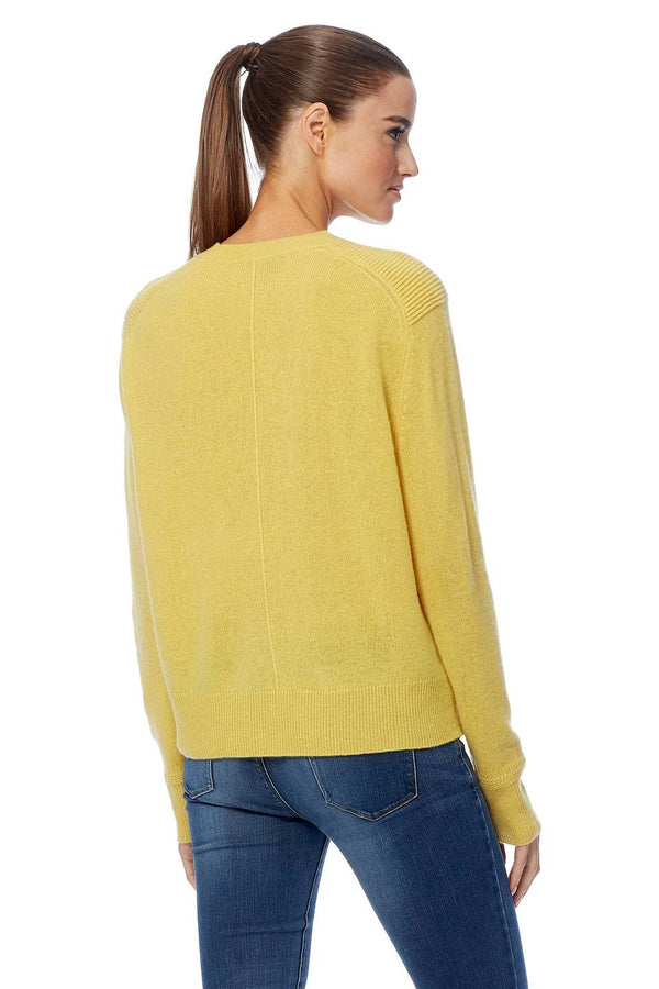 360 Cashmere Celeste yellow knit with crew neck, long sleeve and easy fit
