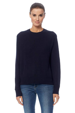 360 Cashmere Celeste navy knit with crew neck, long sleeve and easy fit.