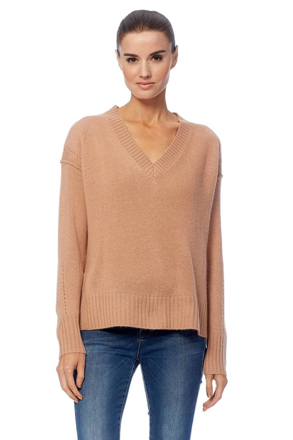 360 Cashmere Daria Knit in a pink/nude tone with V-neck and relaxed fit.
