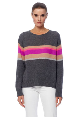 360 Cashmere Gemma striped crew neck knit