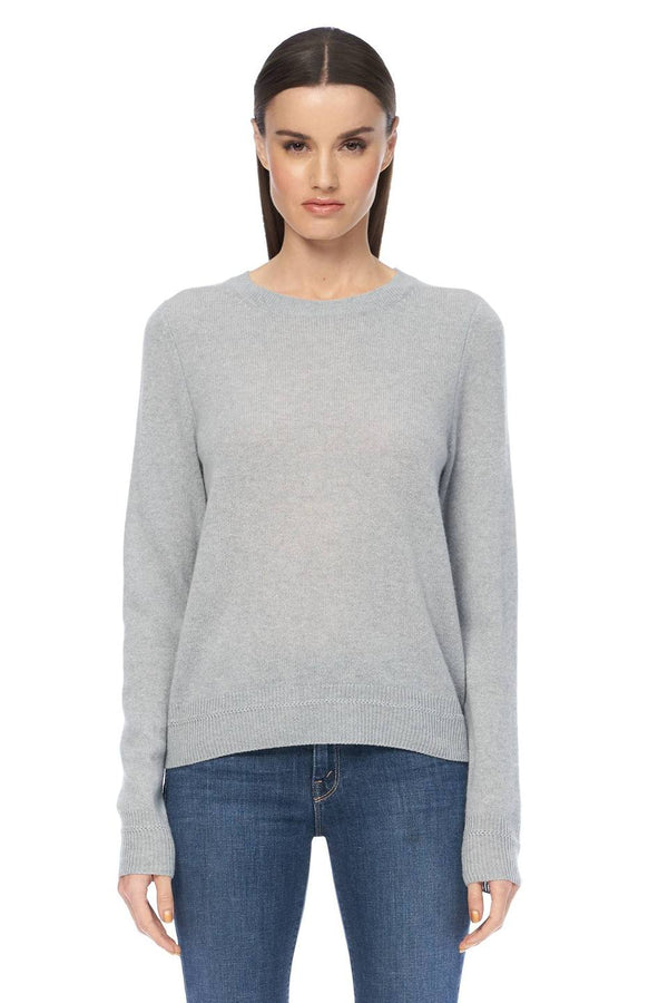 360 Cashmere Leila Misty Blue Cashmere Crew Neck Sweater