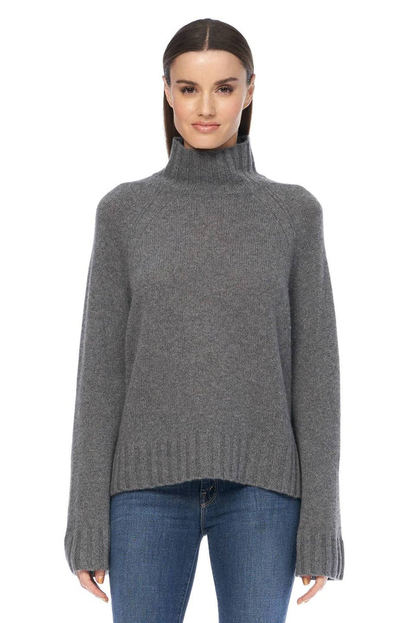 360 Cashmere Leighton Grey Cashmere High Neck Sweater
