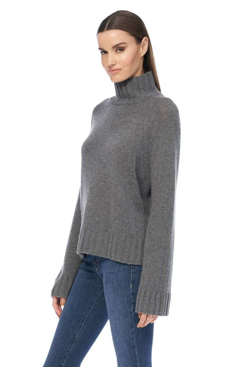 Leighton Grey Cashmere High Neck Sweater