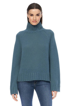360 Cashmere Leighton Teal Cashmere High Neck Sweater