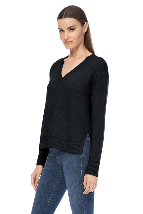 Siena Black Cashmere V Neck Sweater