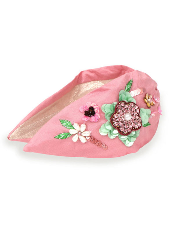 Powder embroidered floral pink beaded headband