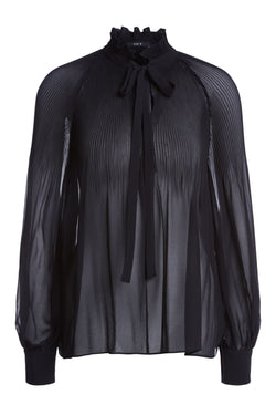 Set Pleated High Neck Blouse