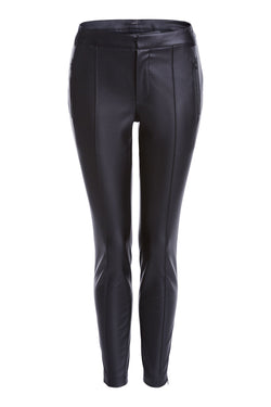Set vegan leather slim leg trousers with zip detail