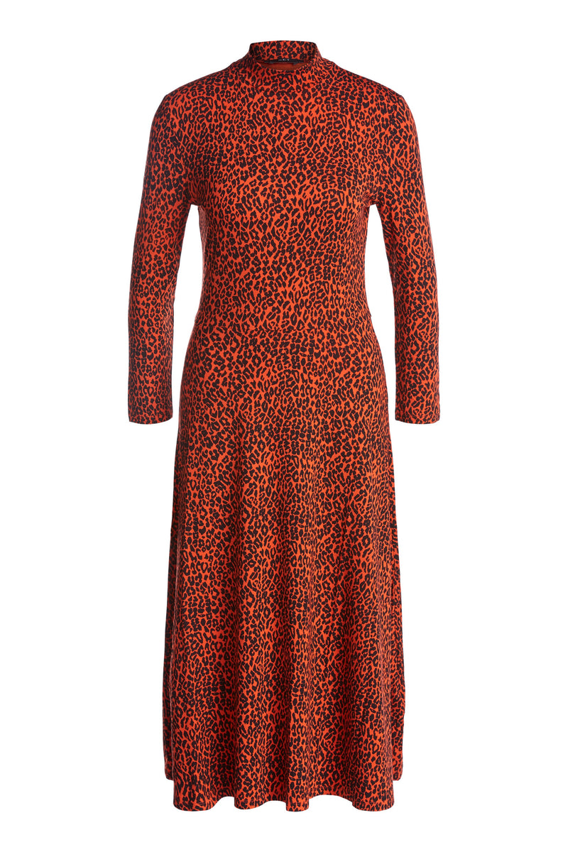 Set leopard print midi high neck jersey fit and flare dress