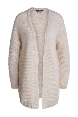 Set aplaca blend long line kniited cardigan with ribbed textured finish
