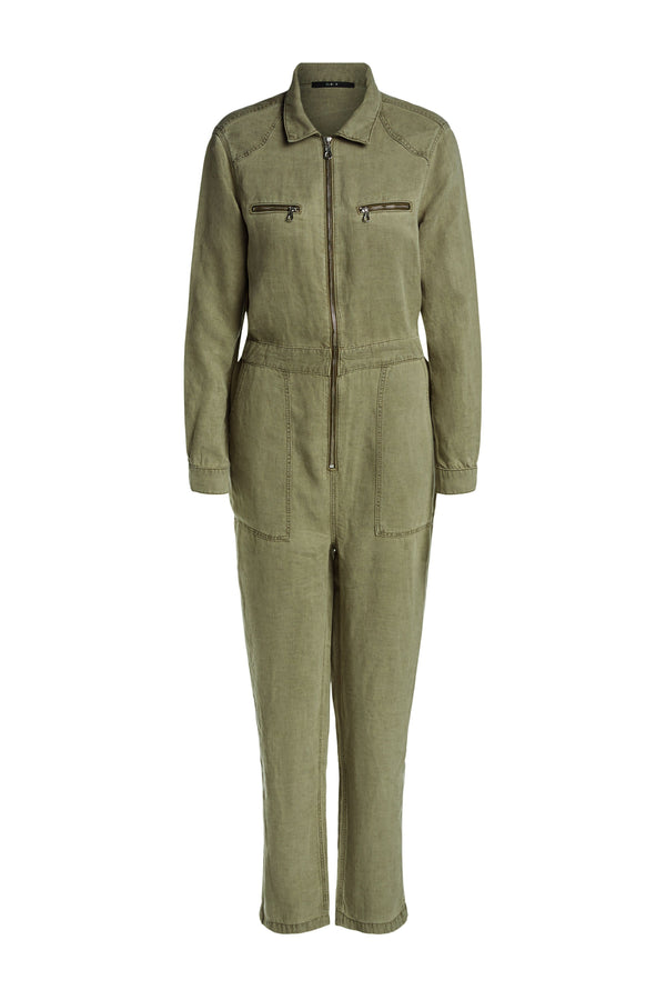Set khaki collared utility jumpsuit with front zip, zip breast pockets and front side slip pocket detail
