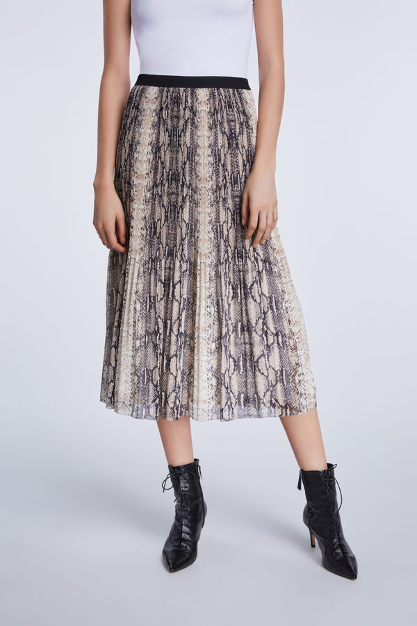 Set pleated snake print midi skirt in light grey and beige tones with black elastic waistband
