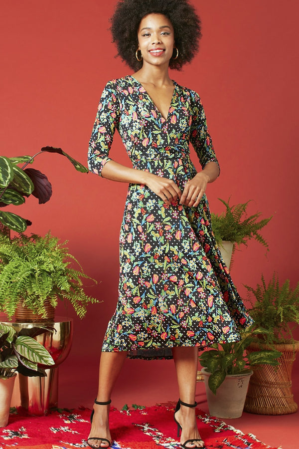 Onjenu Amy Vivienne floral print A-line fit and flare dress