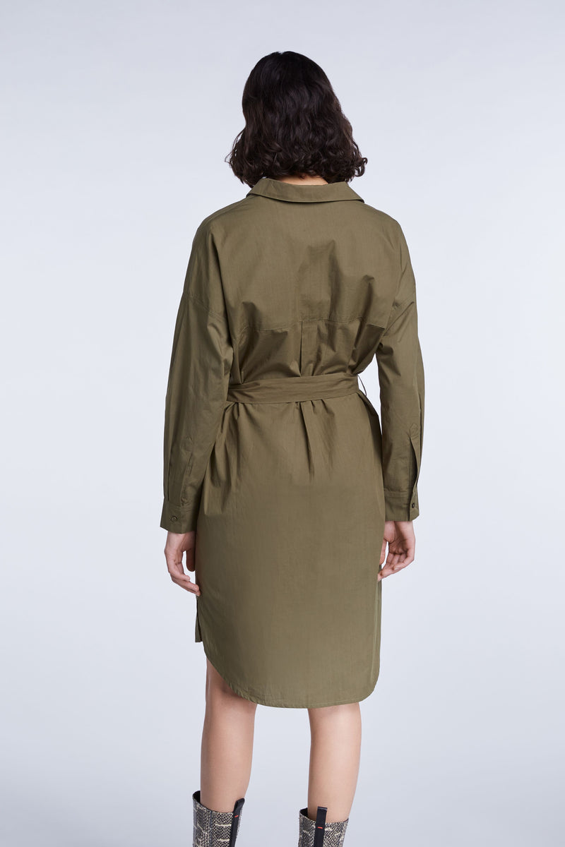 Set khaki open neck tunic dress with cropped 3/4 length sleeves