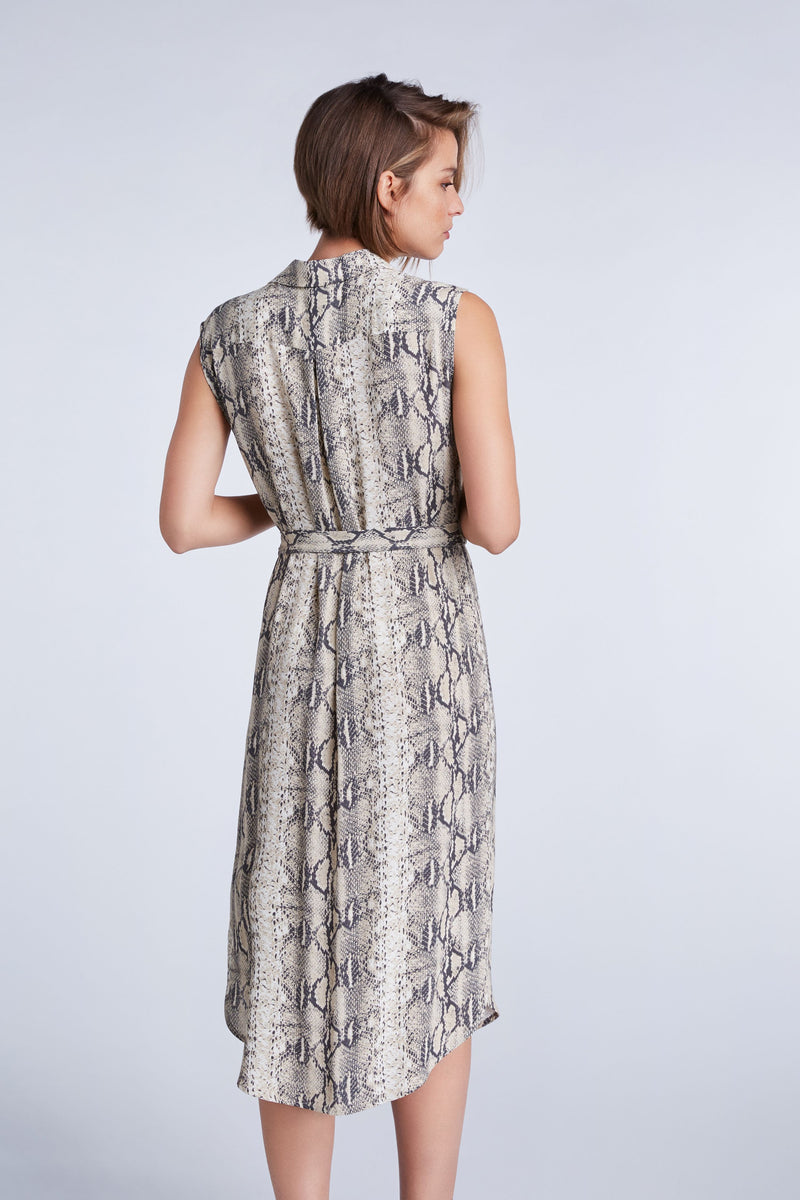 Set grey snake print collared sleeveless dress, button down front, pocket detail and waist