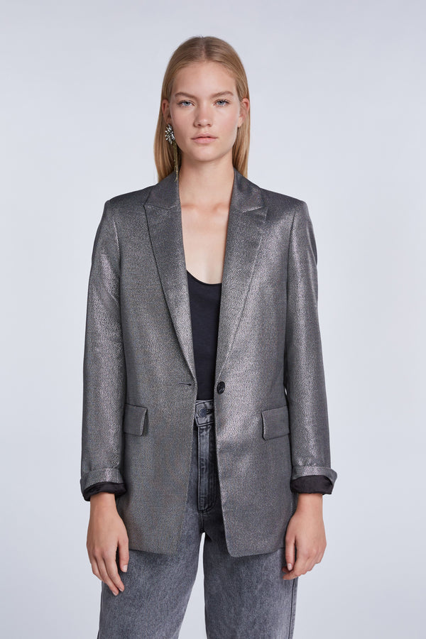 Set silver metallic single button blazer.