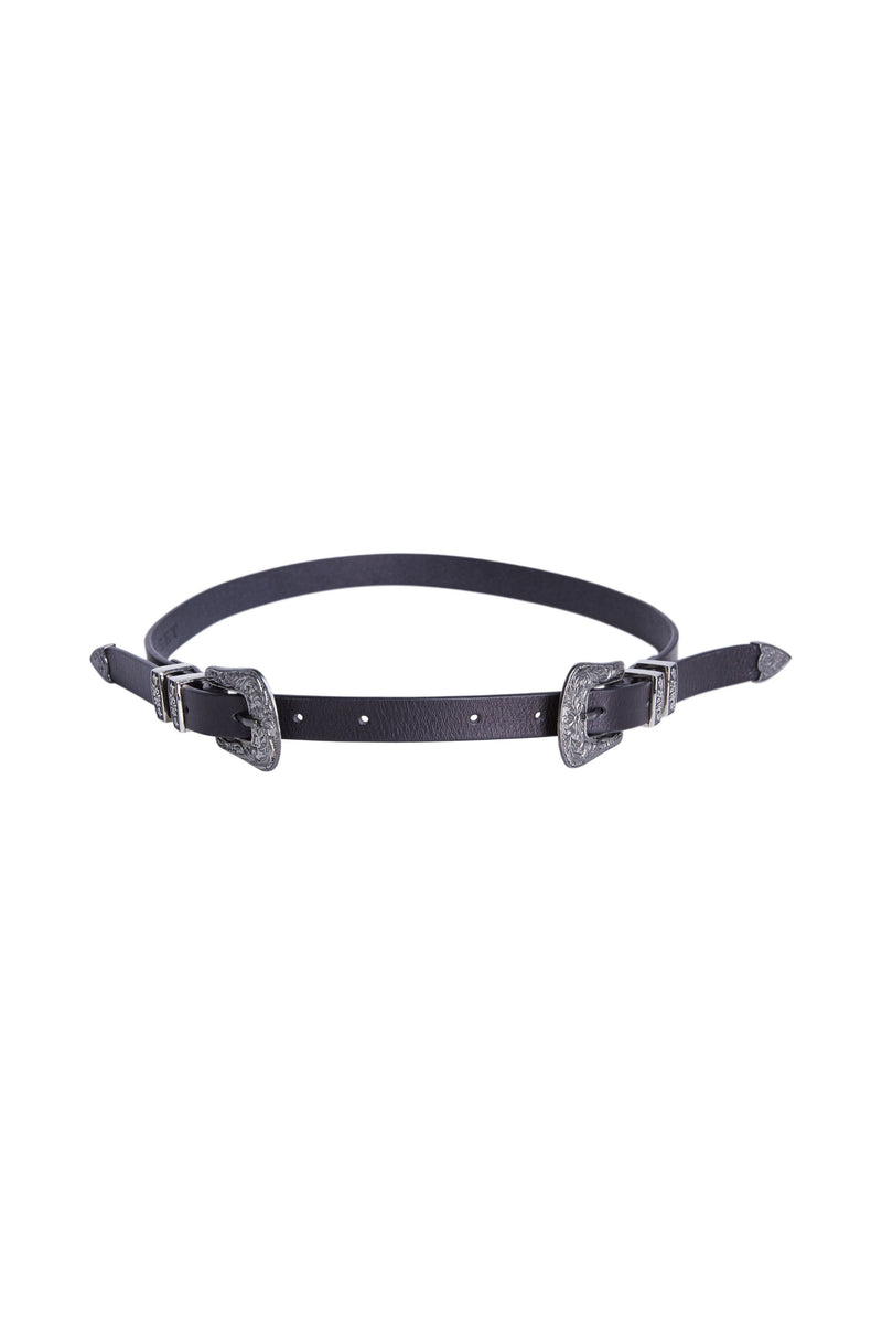 Set Black Leather Western Style Double Buckle Belt