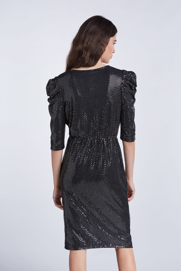 Set metallic jersey draped dress.