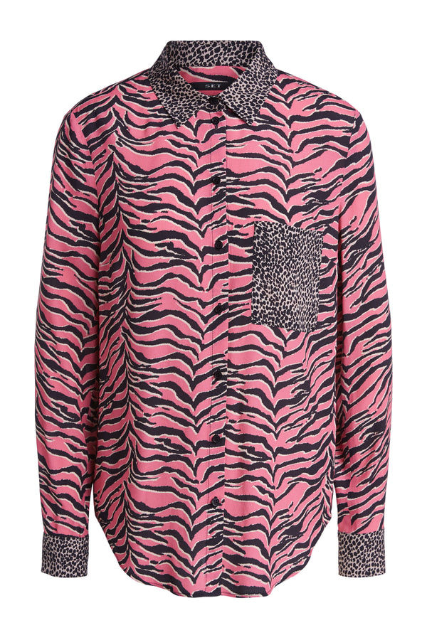 Set Pink Tiger Print Shirt