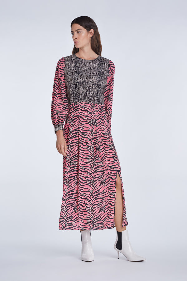 Set Pink Tiger Print Midi Dress