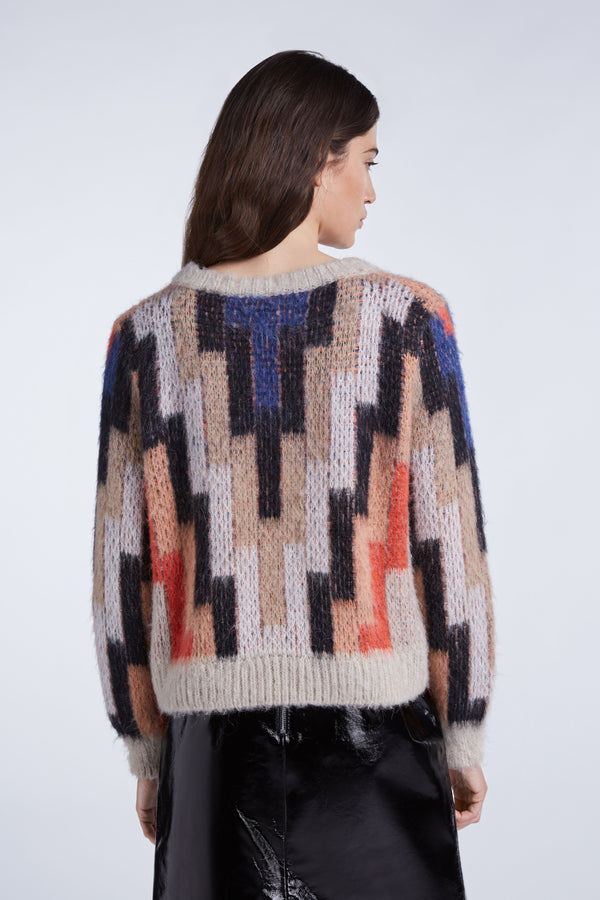 Set Geometric Crew Neck Sweater