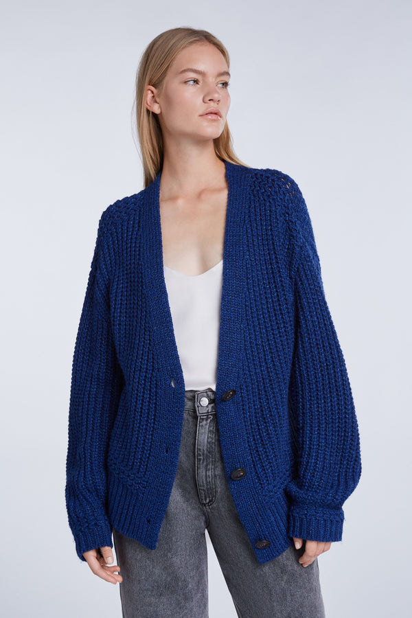 Set heavy ribbed knit cardigan in blue.