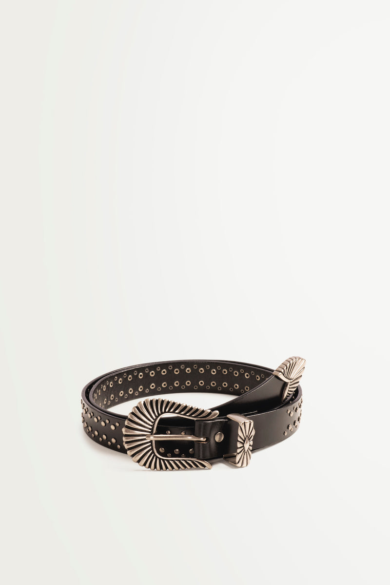 Suncoo Adela black leather western style belt