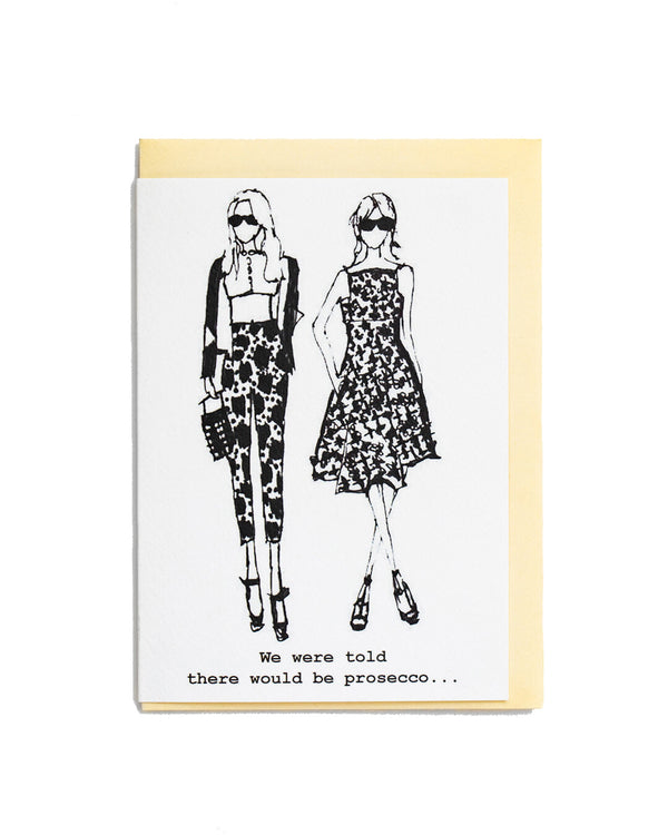 #Prosecco greetings card featuring a hand illustrated fashion style drawing