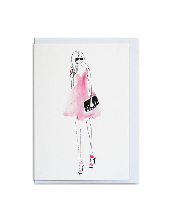 Knightsbridge greetings card featuring a hand illustrated fashion style drawing.