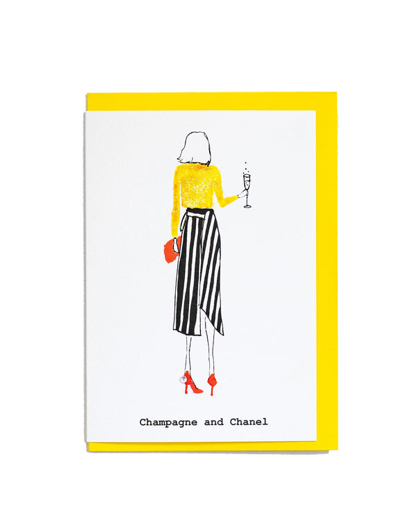 Champagne and Chanel greetings card featuring a hand illustrated fashion style drawing.