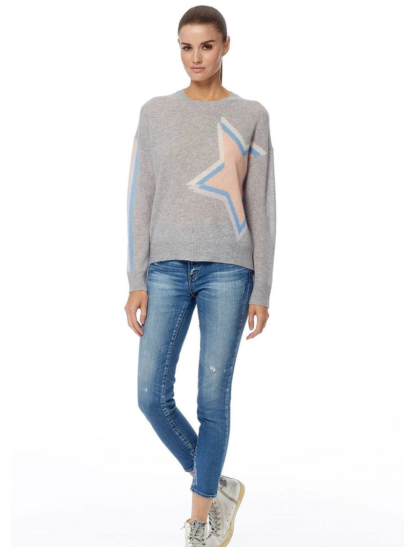 Estella Star crew neck cashmere star detail sweater by 360 Cashmere