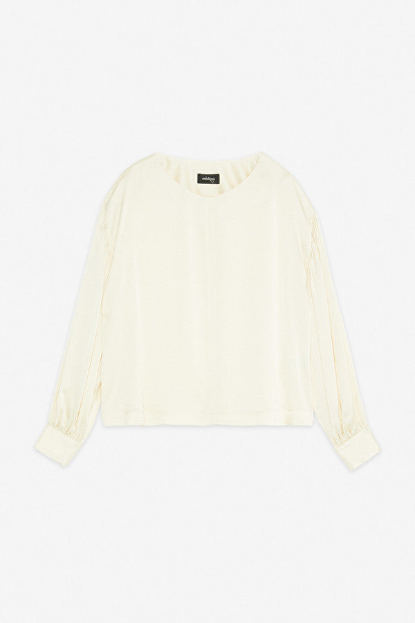 Ottodame satin round neck blouse in vanilla with gathered sleeve.