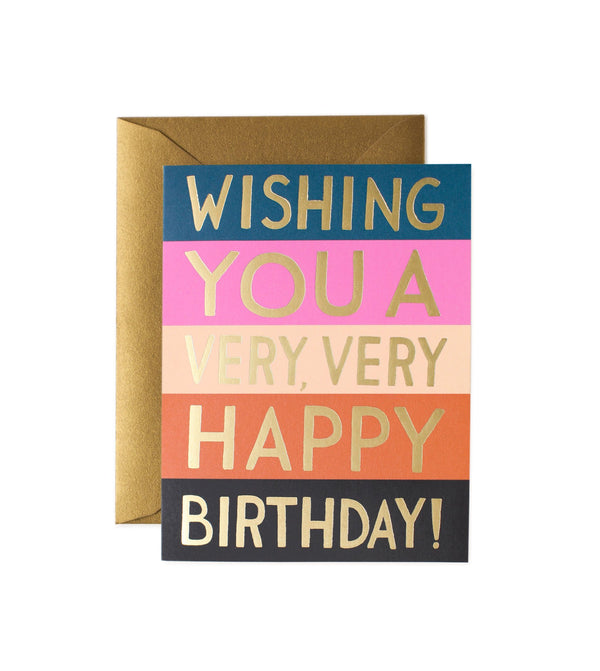 Striped Happy Birthday Card