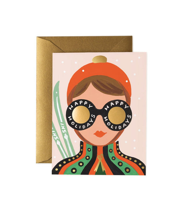 Rifle Paper Co Happy Holidays Ski Girl Greetings Card