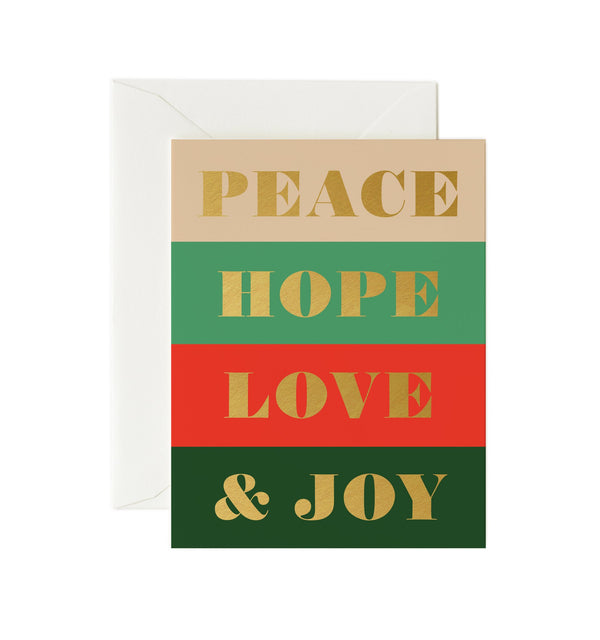Rifle Paper Co Peace Hope Love & Joy Card