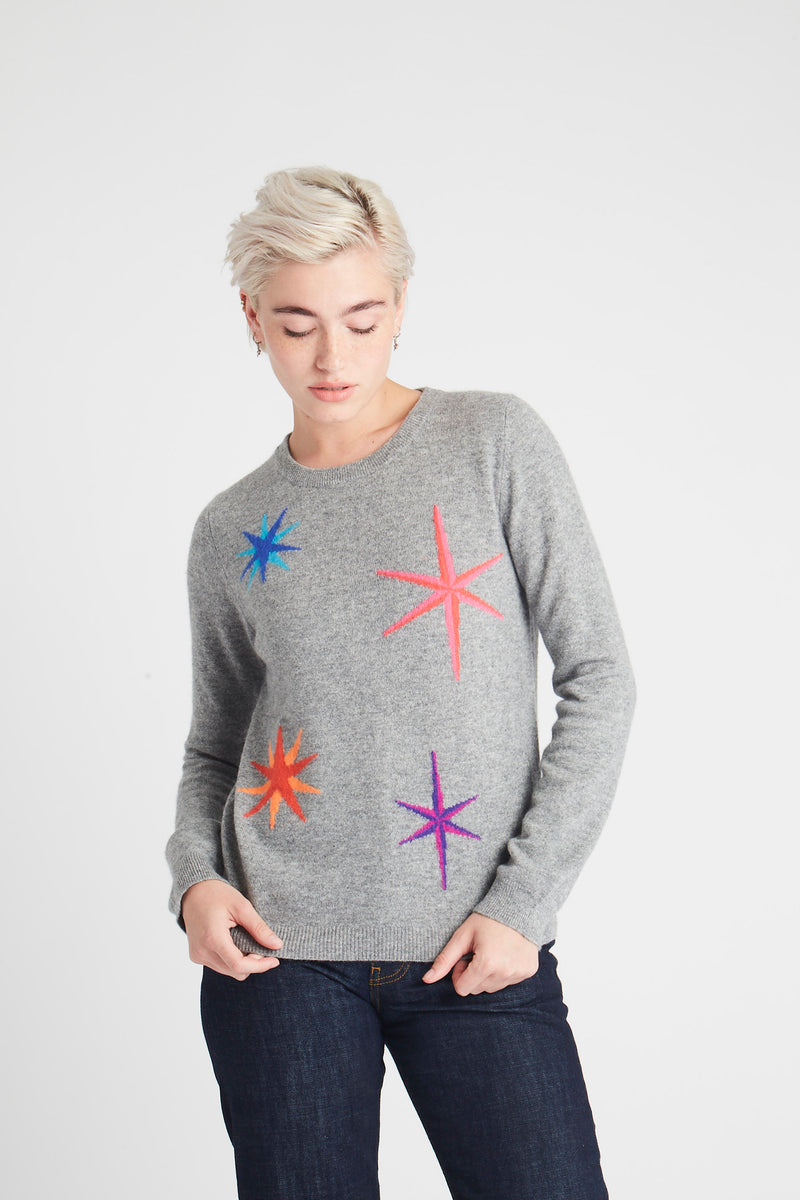Jumper 1234 1218-715 Grey Shooting Star Crew Sweater