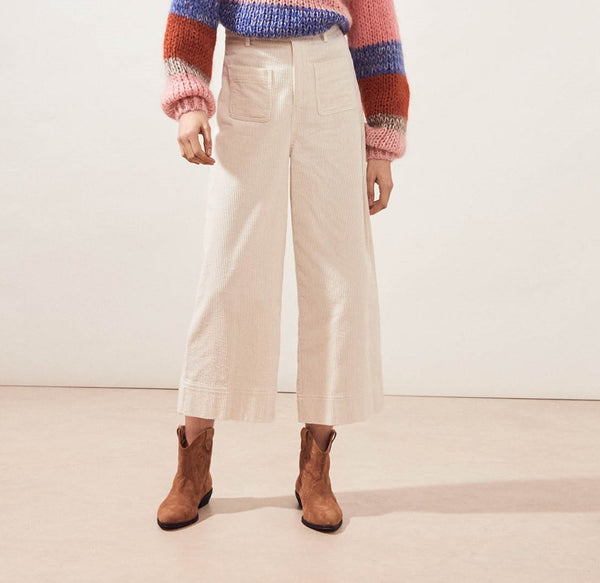 Suncoo Jude Wide Leg Cream Cord Trouser