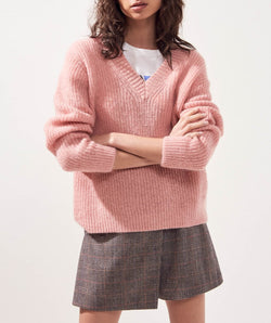 Suncoo Pouchka Vee Neck Sweater in pink.