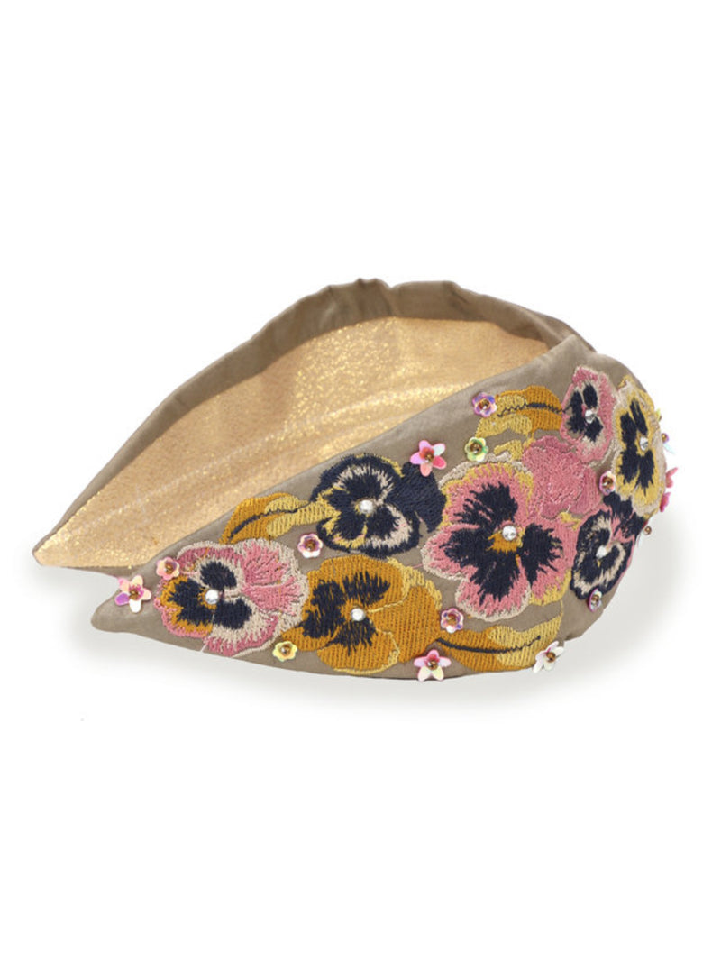 Powder Pansy stone coloured headband with floral embroidery