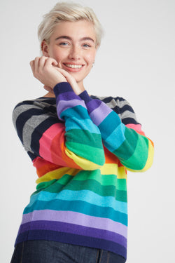 Jumper 1234 1218-730 Multi Stripe Crew Sweater