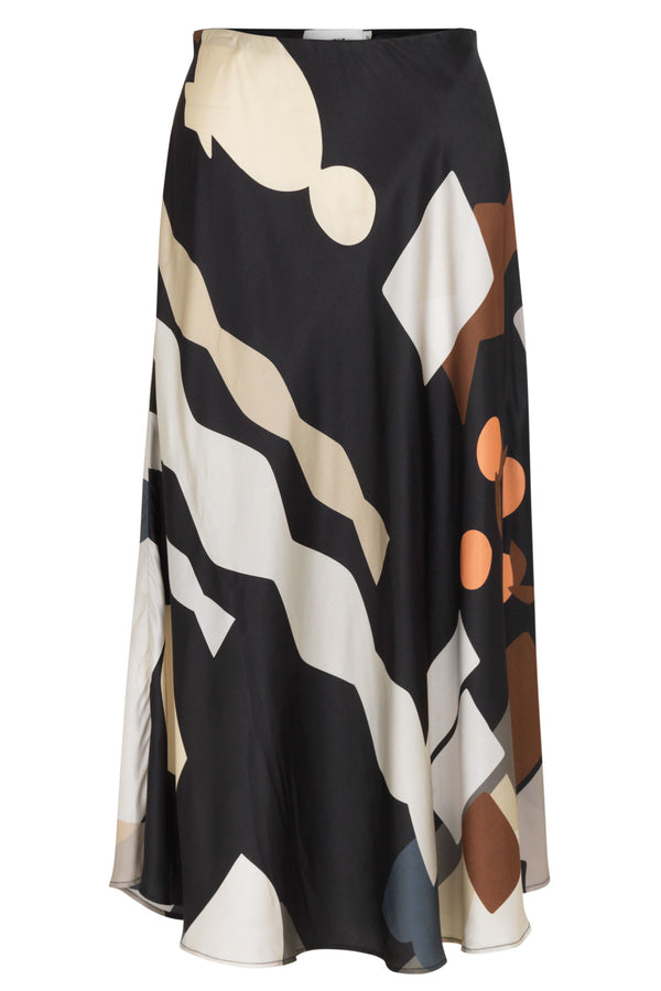 Munthe Eastvale abstract print colourblock silk blend bias cut skirt